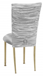 Silver Demure Chair Cover with Jeweled Band and Silver Stretch Knit Cushion on Gold Legs