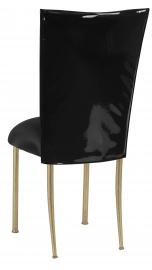Black Patent Leather Chair Cover with Black Stretch Knit Cushion on Gold Legs