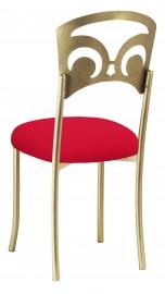 Gold Fleur de Lis with Million Dollar Red Stretch Knit Cushion