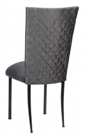 Charcoal Diamond Tufted Taffeta Chair Cover with Charcoal Suede Cushion on Black Legs