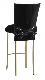 Black Patent Barstool Cover with Bow Belt and Cushion on Gold Legs