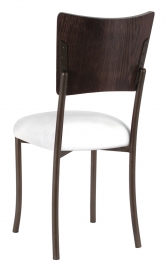 Wood Back Top with White Leatherette Cushion on Brown Legs