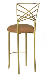 Gold Fanfare Barstool with Camel Suede Cushion