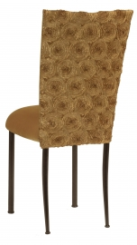 Gold Circle Ribbon Taffeta Chair Cover with Gold Velvet Cushion on Brown Legs