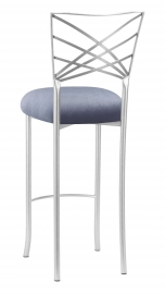Silver Fanfare Barstool with Steel Velvet Cushion