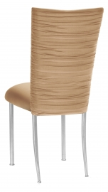Chloe Beige Stretch Knit Chair Cover and Cushion on Silver Legs