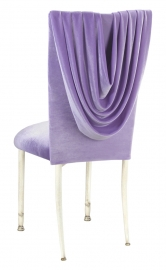 Lavender Velvet Cowl Neck Chair Cover and Cushion on Ivory Legs