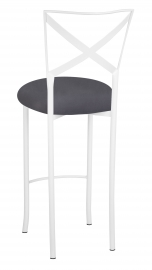 Simply X White Barstool with Charcoal Suede Cushion