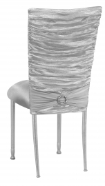 Silver Demure Chair Cover with Jeweled Band and Silver Stretch Knit Cushion on Silver Legs