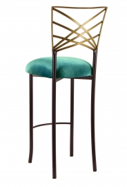 Two Tone Gold Fanfare Barstool with Turquoise Velvet Cushion