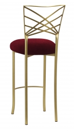 Gold Fanfare Barstool with Cranberry Velvet Cushion