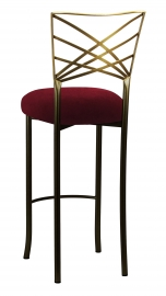 Two Tone Gold Fanfare Barstool with Cranberry Velvet Cushion