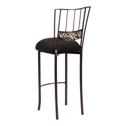 Bella Fleur Mahogany Barstool with Black Suede Cushion