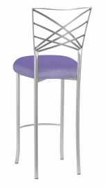 Silver Fanfare Barstool with Lavender Velvet Cushion