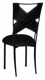 Black Velvet Criss Cross Chair Cover and Cushion on Black Legs