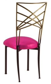 Two Tone Gold Fanfare with Metallic Fuchsia Cushion