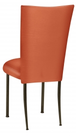 Orange Taffeta Chair Cover with Boxed Cushion on Brown Legs