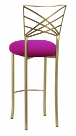 Gold Fanfare Barstool with Magenta Stretch Knit Cushion