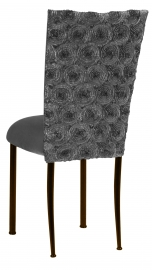 Pewter Circle Ribbon Taffeta Chair Cover with Charcoal Suede Cushion on Brown Legs