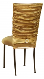 Gold Demure Chair Cover with Jewel Band and Gold Stretch Knit Cushion on Brown Legs