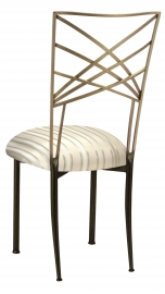 Two Tone Fanfare with Ivory Striped Cushion