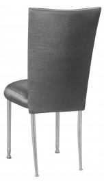 Charcoal Taffeta Chair Cover with Boxed Cushion on Silver Legs