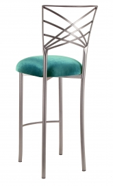 Silver Fanfare Barstool with Turquoise Velvet Cushion