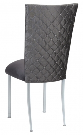 Charcoal Diamond Tufted Taffeta Chair Cover with Charcoal Suede Cushion on Silver Legs