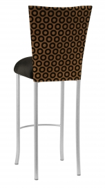 Chocolate Suede with Black Chenille Circle Barstool Cover and Black Velvet Cushion on Silver Legs