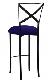Blak. Barstool with Navy Stretch Knit Cushion