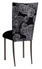 Black Swirl Velvet Chair Cover with Black Velvet Cushion on Brown legs