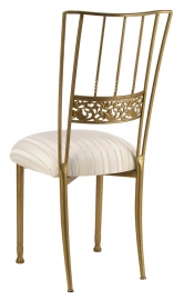 Gold Bella Fleur with Ivory Sateen Stripe Cushion
