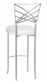 Silver Fanfare Barstool with Metallic White Cushion