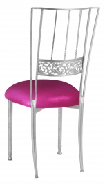 Silver Bella Fleur with Metallic Fuchsia Knit Cushion