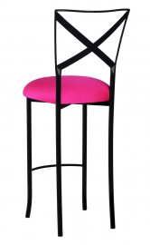 Blak. Barstool with Hot Pink Stretch Knit Cushion