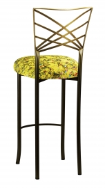 Two Tone Fanfare Barstool with Yellow Paint Splatter Knit Cushion