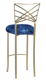 Gold Fanfare Barstool with Blue and Purple Peacock Knit Cushion