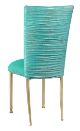 Chloe Mermaid Stretch Knit Chair Cover and Cushion on Gold Legs