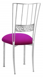 Silver Bella Fleur with Magenta Stretch Knit Cushion