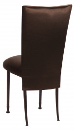 Brown Satin 3/4 Chair Cover and Cushion on Mahogany Legs