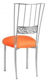 Silver Bella Fleur with Tangerine Stretch Knit Cushion