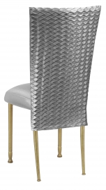 Charcoal Taffeta Scales 3/4 Chair Cover with Boxed Cushion on Gold Legs
