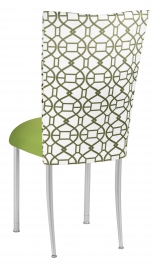 Blade Kaleidoscope Chair Cover with Lime Stretch Knit Cushion on Silver Legs