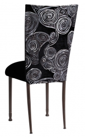 Black Swirl Velvet Chair Cover with Black Velvet cushion on Mahogany Legs