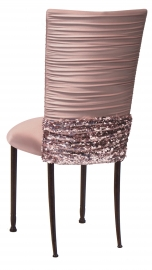 Chloe Blush Chair Cover with Bedazzle Band and Blush Stretch Knit Cushion on Mahogany Legs