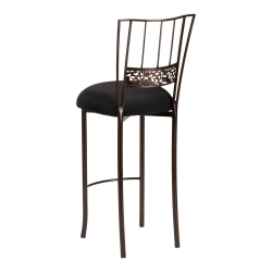 Bella Fleur Mahogany Barstool with Black Stretch Knit Cushion