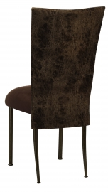 Durango Chocolate Leatherette 3/4 Topper with Chocolate Suede Cushion on Brown Legs