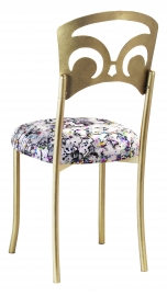 Gold Fleur de Lis with White Paint Splatter Stretch Knit Cushion