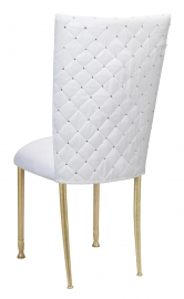 White Diamond Tufted Taffeta Chair Cover with White Suede Cushion on Gold Legs
