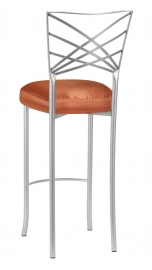 Silver Fanfare Barstool with Orange Taffeta Boxed Cushion